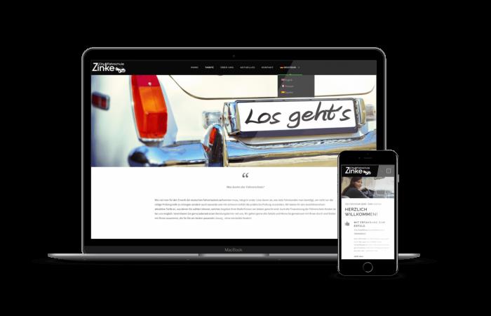 fahrschul website zinke oberursel mockup formwandler